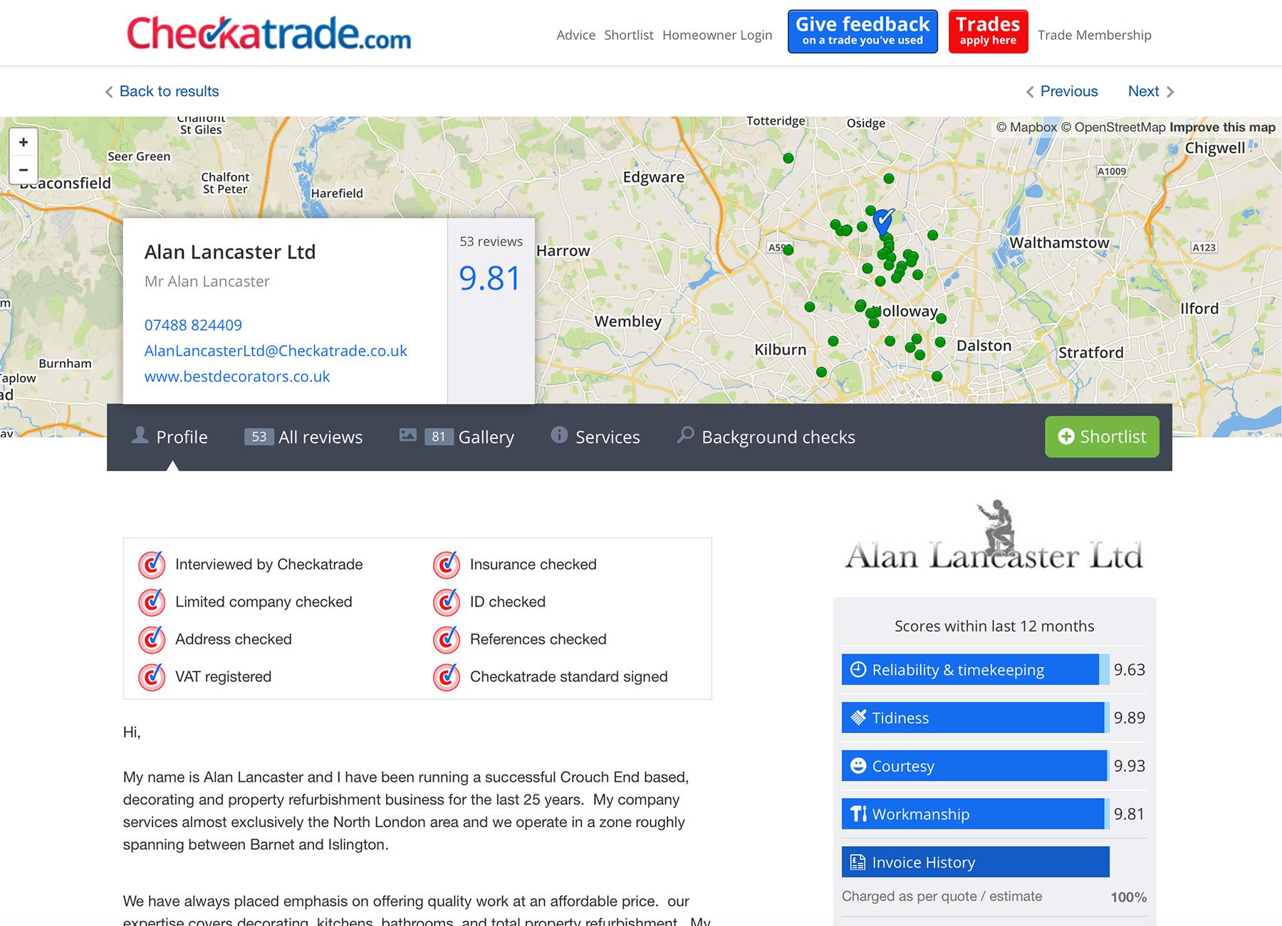 Alan Lancaster Ltd reviews on Checkatrade